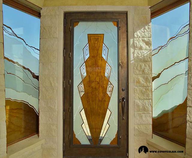 Art Deco Southwest Door Front Doors Austin By Glass River Design