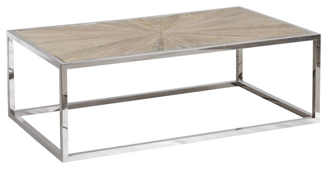 Franklin Chrome Coffee Table With Reclaimed Wood Top Transitional - Reclaimed wood and chrome coffee table