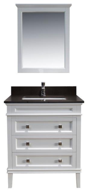 Bordeaux 30 Vanity With Mirror And Mocha Woodland Quartz Top, Matte White.