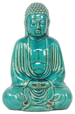 Turquoise Ceramic Buddha Statue Figurine Accent Piece Home Decor Asian Decorative Objects And