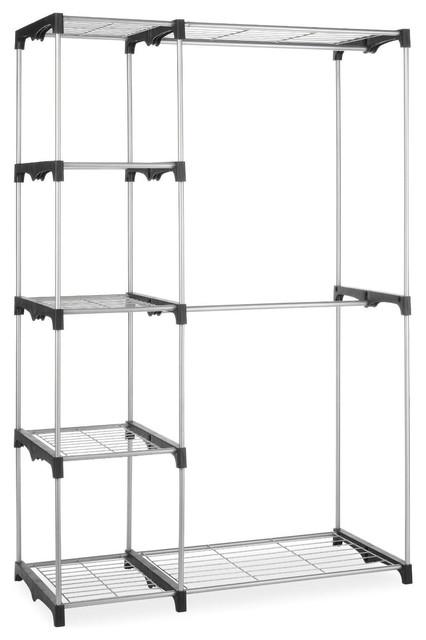 Freestanding Closet Organizer Garment Rack Storage Unit With Hanging Rods.
