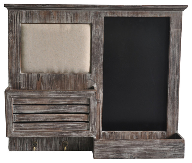 Wooden Wall Shelf With Pinboard And Chalkboard.