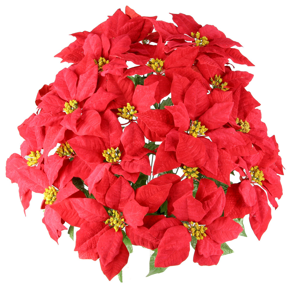 24 Stems Faux Velvet Poinsettia Christmas Bush Traditional Artificial Flower Arrangements By Admired By Nature