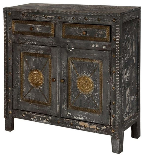 Beau Midnight Gold Mango Wood Brass Inlay 2 Drawer Rustic Storage Cabinet
