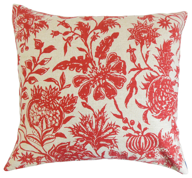 The Pillow Collection Pomona Floral Bedding Sham Claret Euro 26 X 26 Throw Pillow Covers Home Kitchen