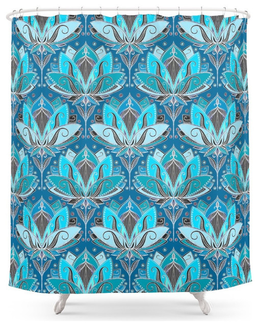 Shower Curtains black and blue shower curtains : Society6 Art Deco Lotus Rising, Black, Teal and Turquoise Pattern ...