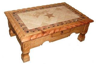 Lovely Marble Rope Trim Coffee Table With Star Details   Southwestern   Coffee  Tables   By Million Dollar Rustic