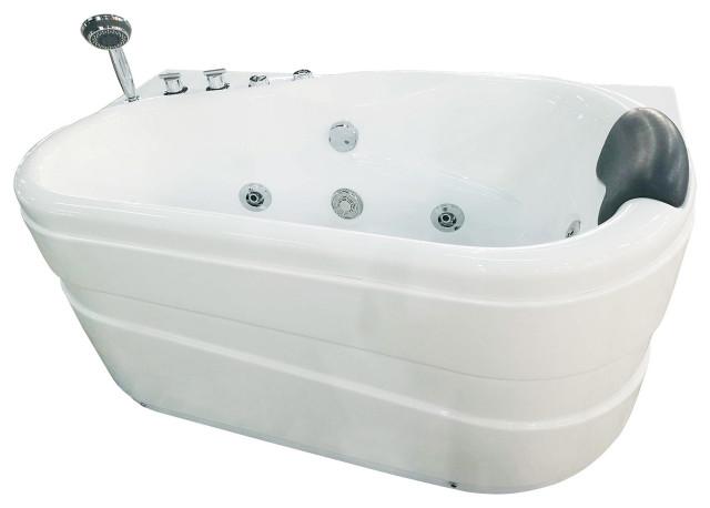 EAGO AM175-L 5'' White Acrylic Corner Whirlpool Bathtub - Drain on Left