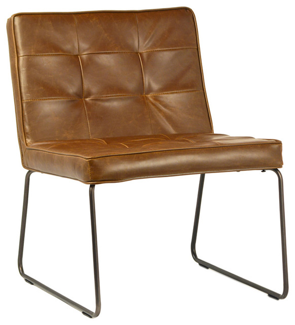 Aged Leather Side Chair With Metal Frame Armchairs And Accent Chairs By Design Mix Furniture