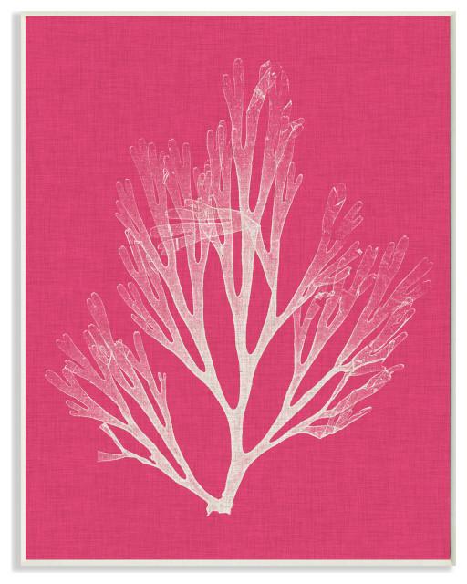 "Coral Seaweed Magenta White Beach Design, 10""x15"", Wood Art"