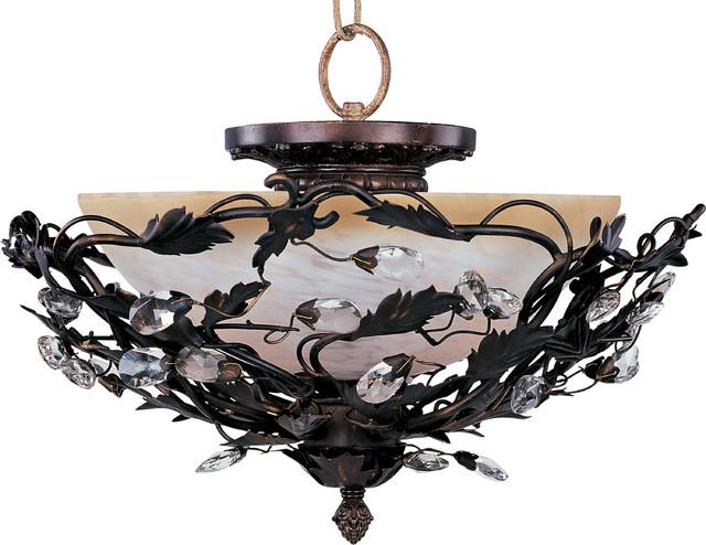Elegante 3-Light Semi-Flush Mount, Oil Rubbed Bronze, Frosted Ivory.