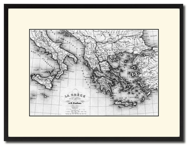 image relating to Printable Map of Ancient Greece named Historical Greece Outdated BW Map Print Upon Canvas With Black Personalized Body, 16\
