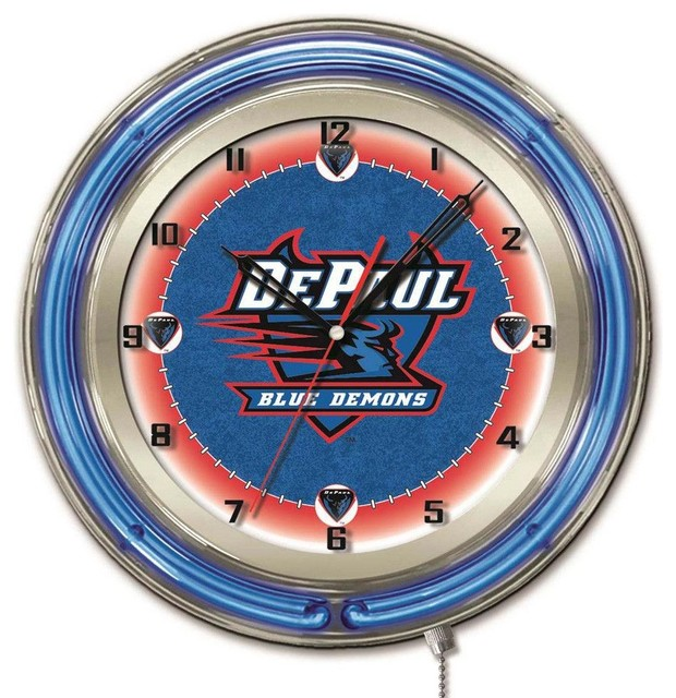 Depaul Blue Demons Large Logo Neon Clock Contemporary