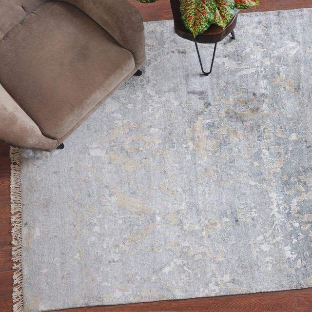 Bhutan 9'x12' Hand Knotted Bamboo Silk Washed Gray and Beige Area Rug