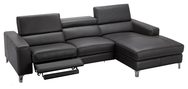 Ariana Italian Leather Sectional Sofa With Recliner Right Hand Facing