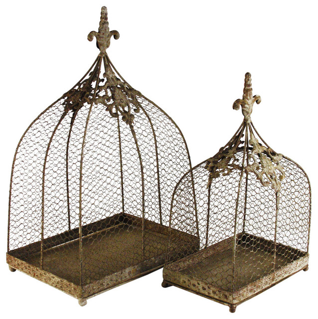 Rustic Wire Decorative Bird Cages, Set Of 2.
