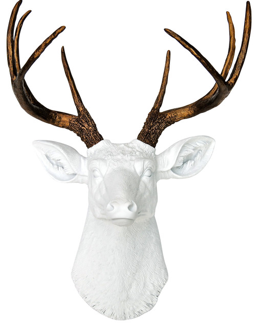 Faux Deer Head, White, Bronze.