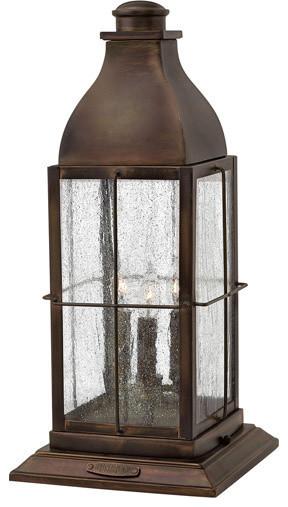 "Bingham 21.25"" 15W 3 LED Outdoor Pier Mount, Sienna, Clear Seedy Glass"