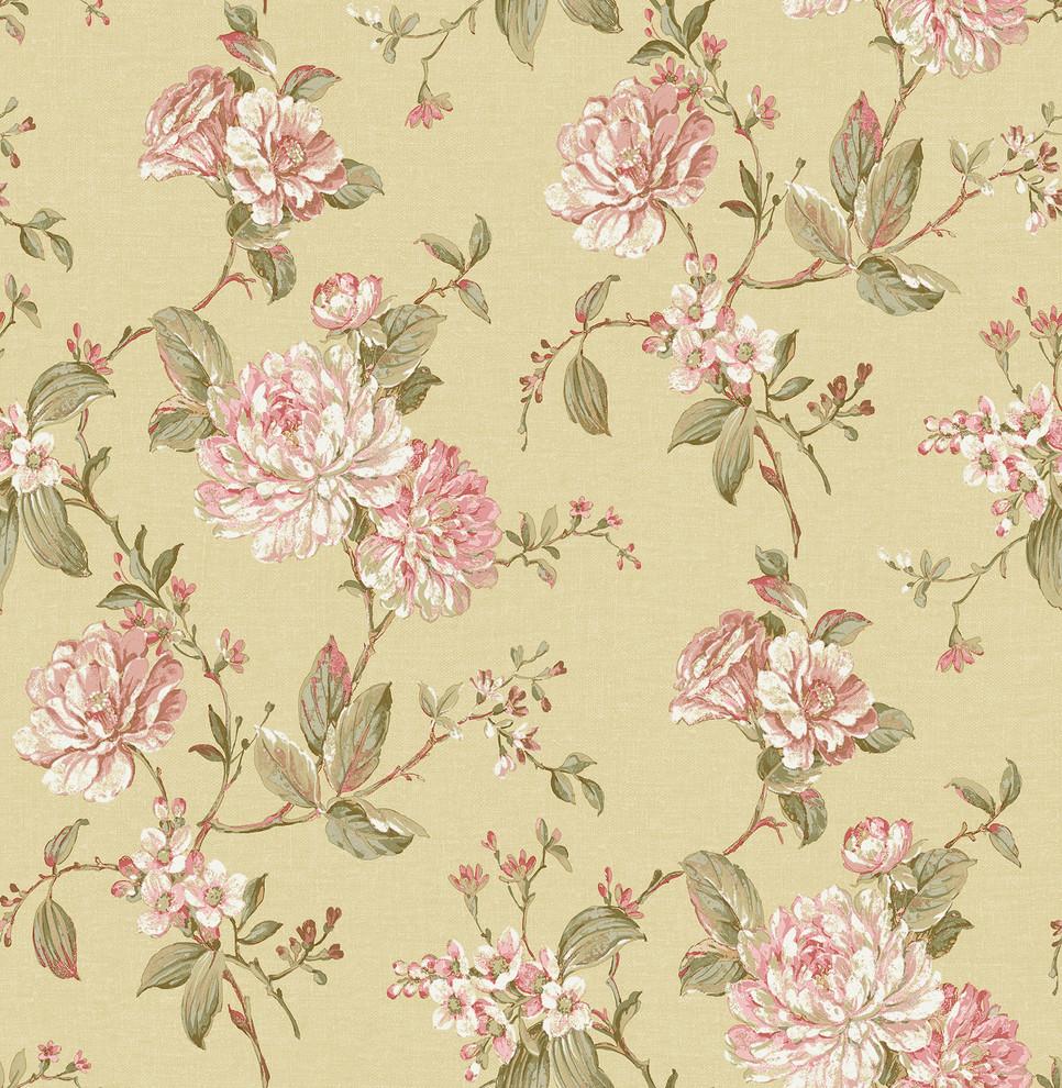 Mandir Mustard Floral Trails Wallpaper Contemporary Wallpaper