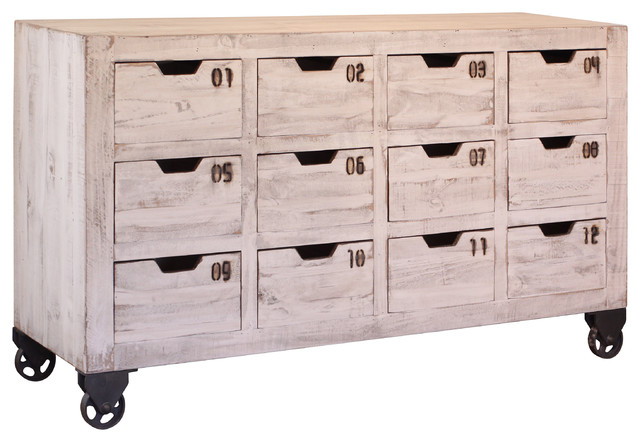 Greenview Rustic Solid Wood White 12 Drawer Dresser Console