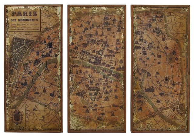 Antique Finish Old World Map Of Paris Brown 3 Panel Wall
