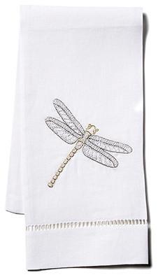 Dragonfly Fingertip Towel, White Linen
