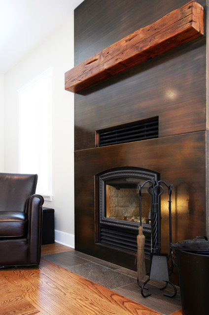 Copper Clad Fireplace With Reclaimed Wood Mantel