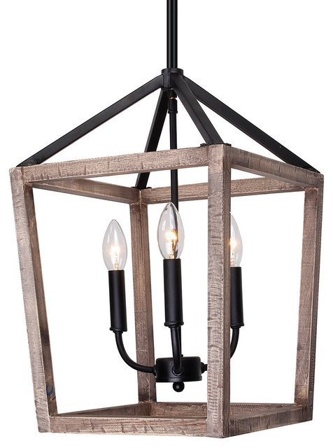 3-Light Wood Cage Pendant.