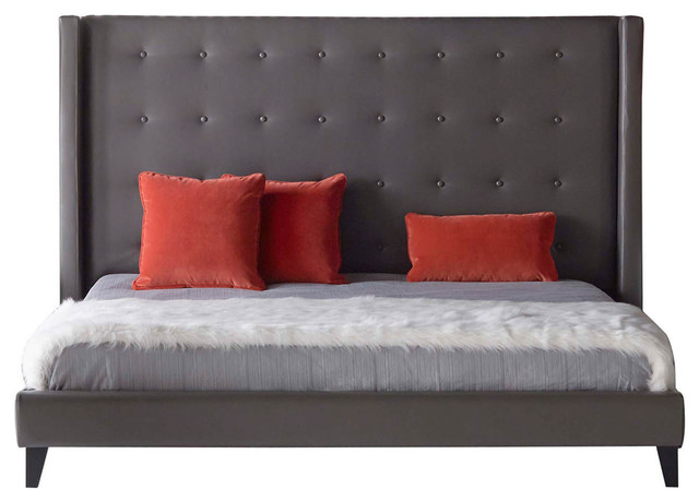 Wooden Standard King Upholstered Bed, Pebble Gray.