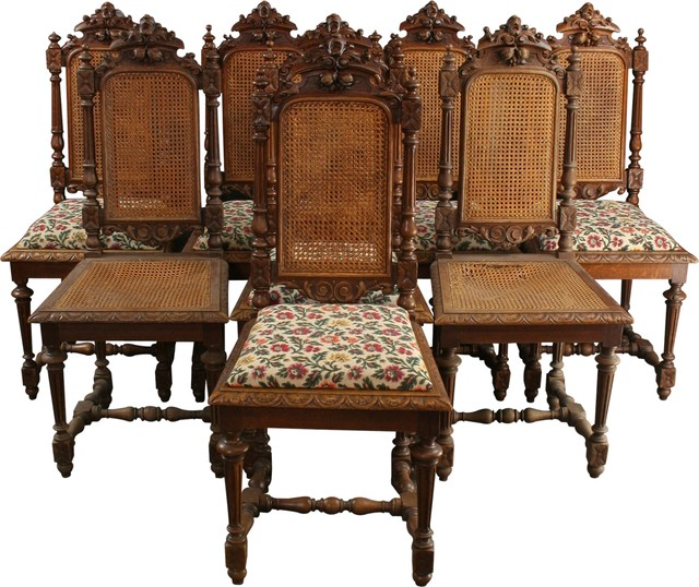 Antique Dining Room: Consigned Antique Dining Chairs, 1880 French Hunting, Set