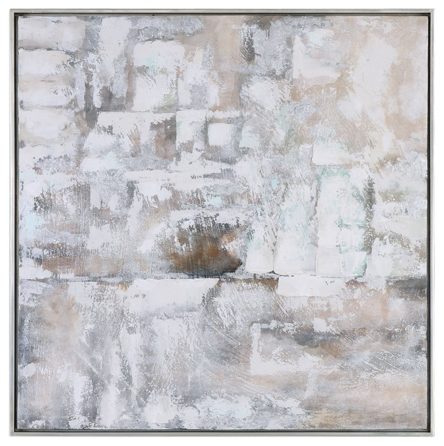 """Abstract 41"""" Neutral Tones Wall Art, Painting Beige White Square"""
