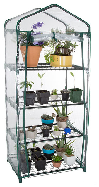 Pure Garden 4 Tier Mini Greenhouse With Cover 27.5x19x63.