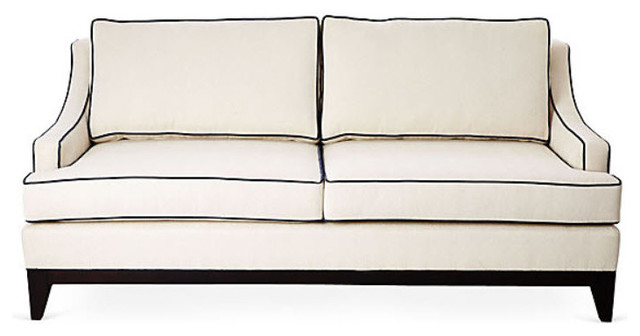 Dallas Sofa, Ivory Performance/Navy Piping