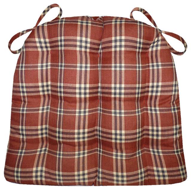 Parker Plaid Brick Red Dining Chair Pad, Latex Foam Fill, Standard