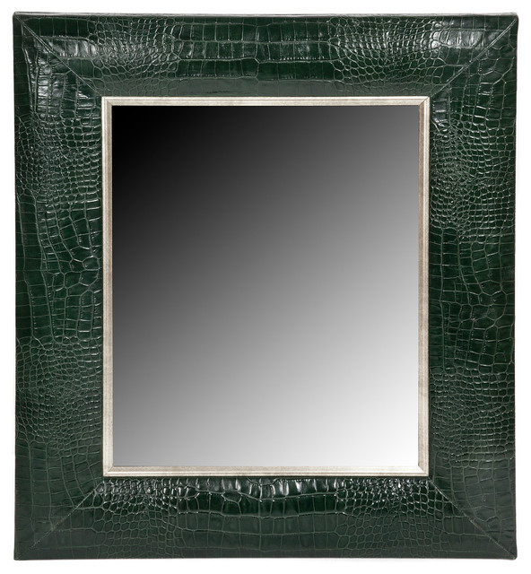 Hunter Green Classic Croc Leather Framed Mirror Wall