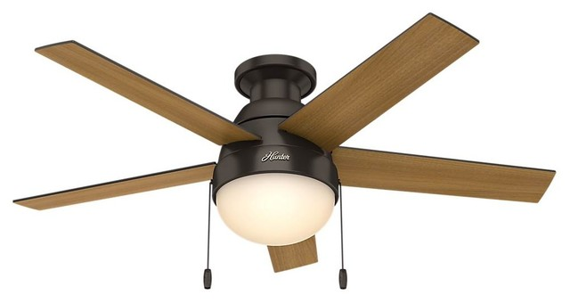 "Anslee Low Profile 46"" Ceiling Fan With Light, Premier Bronze."