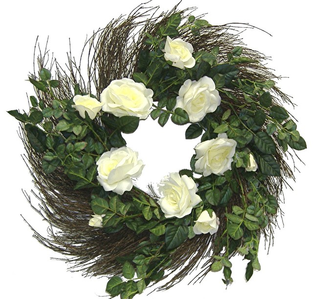 "Faux Matt Satin Rose Wreath With Twig, 24""."