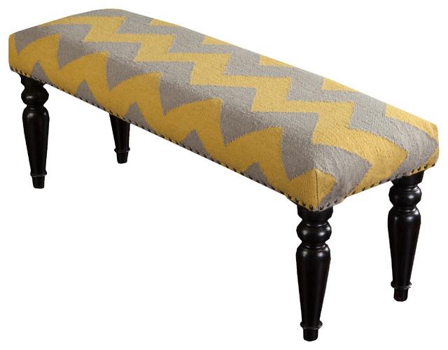 Surya Wool Nailhead Bench, Yellow.