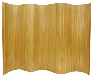 6 ft. Tall Bamboo Wave Screen - Natural - Modern - Screens And Room Dividers - by Oriental Furniture
