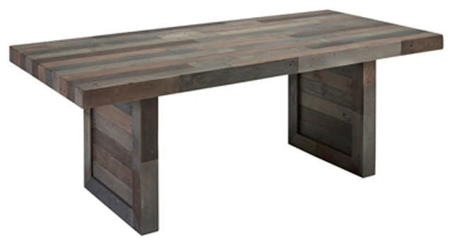 Norman Reclaimed Pine 82 Distressed Dining Table By Kosas Home Charcoal