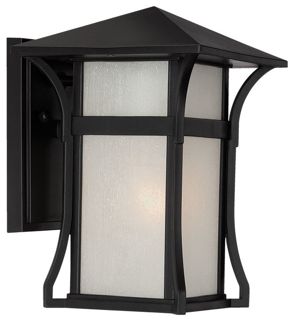 Tahiti Collection Wall-Mount 1-Light Outdoor Light, Matte Black.