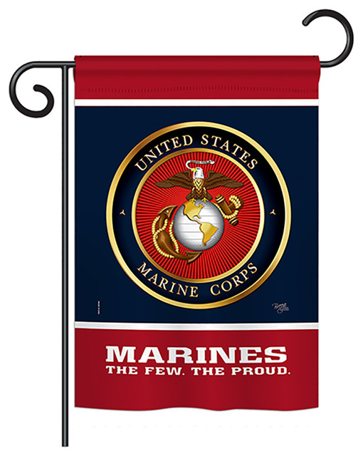 Proud Marine Corps Americana Vertical 28 X40 13 X18 5 Double Sided Flag Contemporary Flags And Flagpoles By Breeze Decor