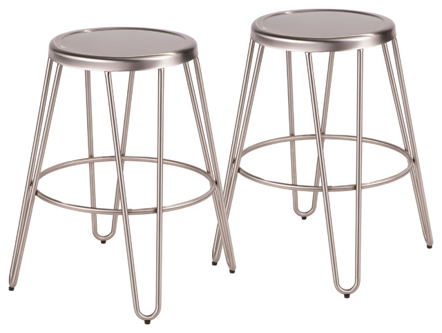LumiSource Avery Metal Counter Stool, Brushed Stainless Steel, Set of 2