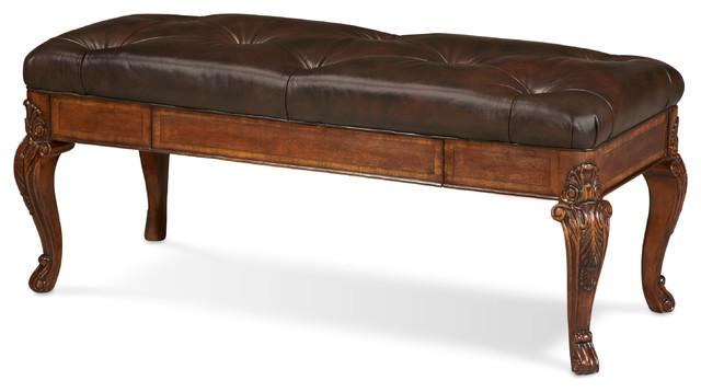 old world leather storage bench - Leather Storage Bench