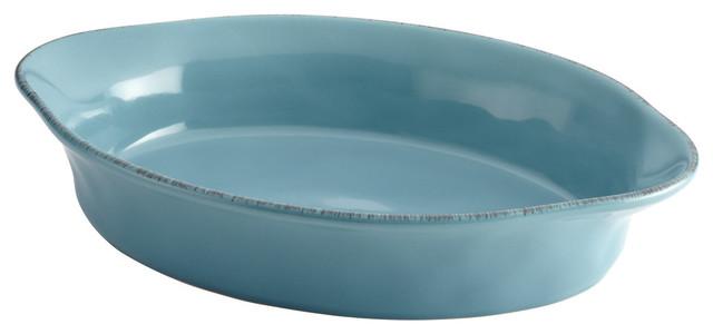 Cucina Stoneware 2-Quart Oval Baker, Agave Blue.