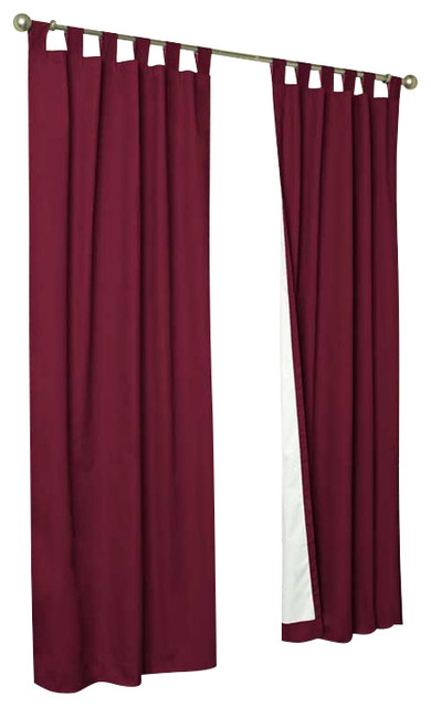 Thermalogic Weather Cotton Fabric 80 X 54 Tab Panels Pair Burgundy Contemporary Curtains