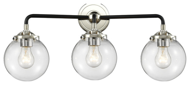 """3-Light Beacon 24"""" Sconce, Black Polished Nickel, Glass: Clear"""