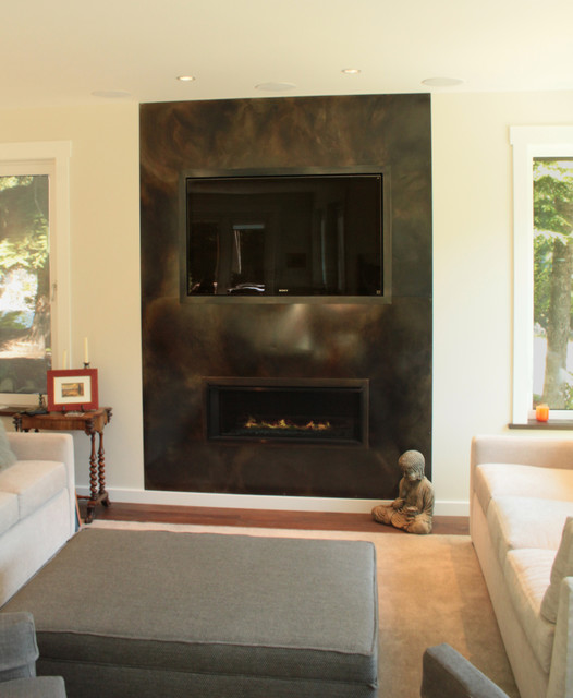 Living Room With Wood Firewall