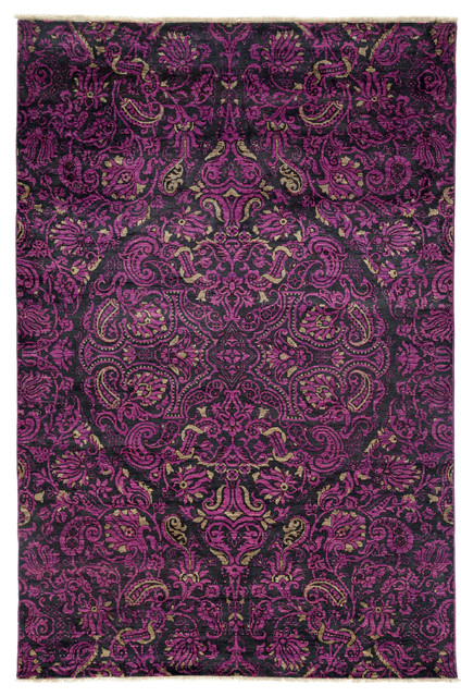 Suzani, Hand Knotted Area Rug, 6&x27;x8&x27;10.