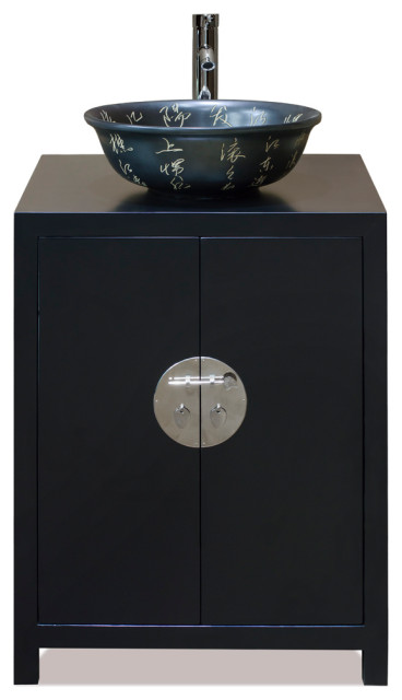 Matte Black Elmwood Ming Vanity Cabinet Asian Bathroom Vanities And Sink Consoles By China Furniture And Arts Houzz